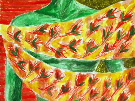 Claudia Ion, Verde, 2018, creion şi acuarelă pe hârtie, 70x50 cm[3764]