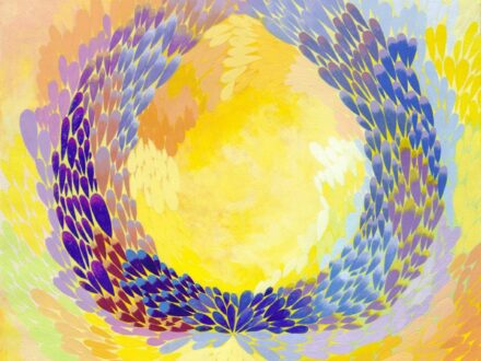 Francisca Dragomirescu, Dancing colors, 2018, acrilic pe hârtie, 47 x 39 cm[3765]